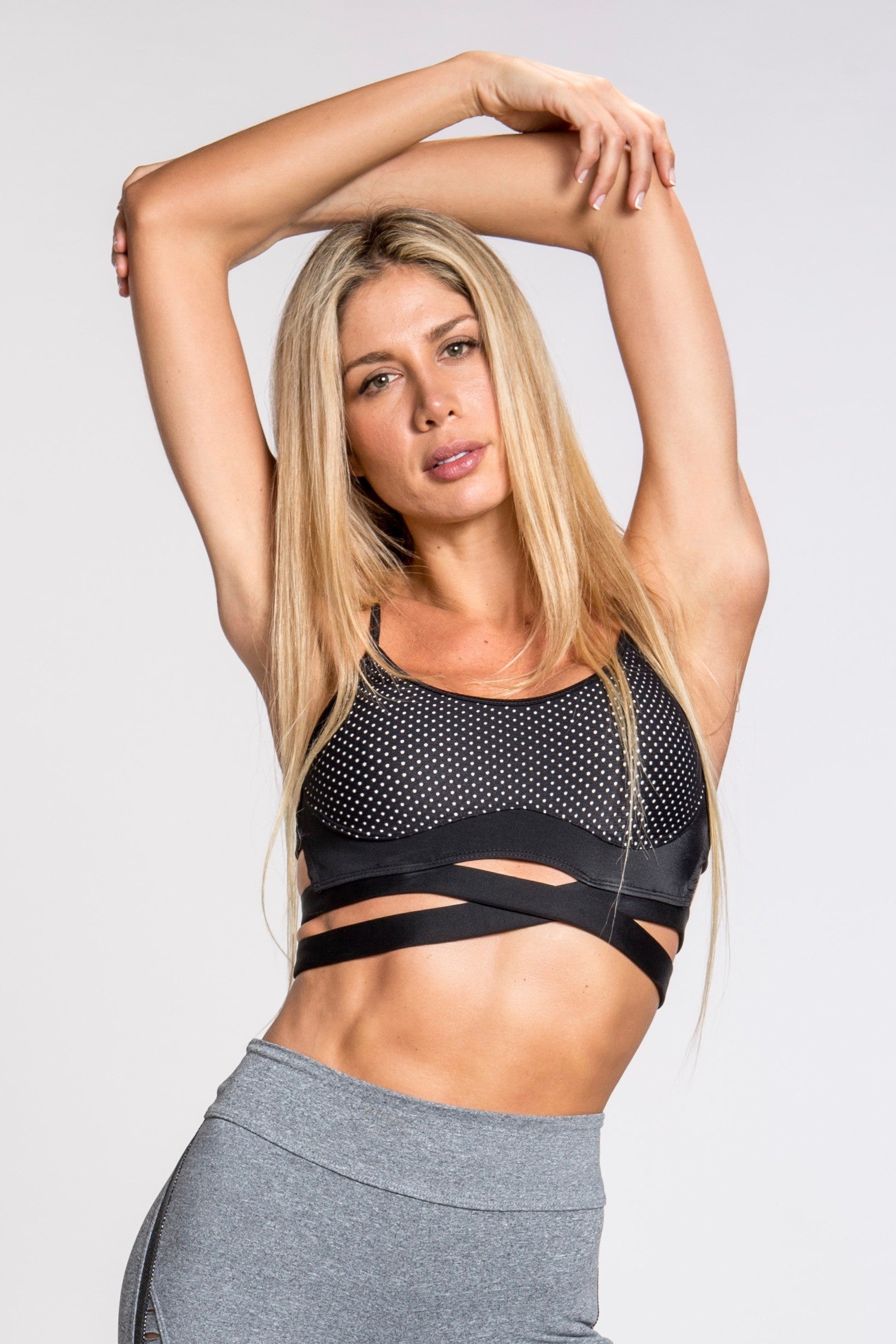 Xena Caged Back Sports Bra - Black/Silver