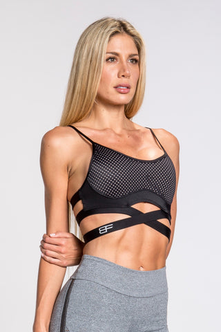 Flexy Feline Triangle Bra - Black/Orange/White