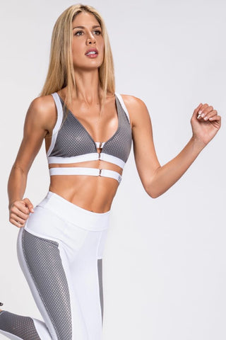 Elektra Caged Back Bra Top - Black/Silver