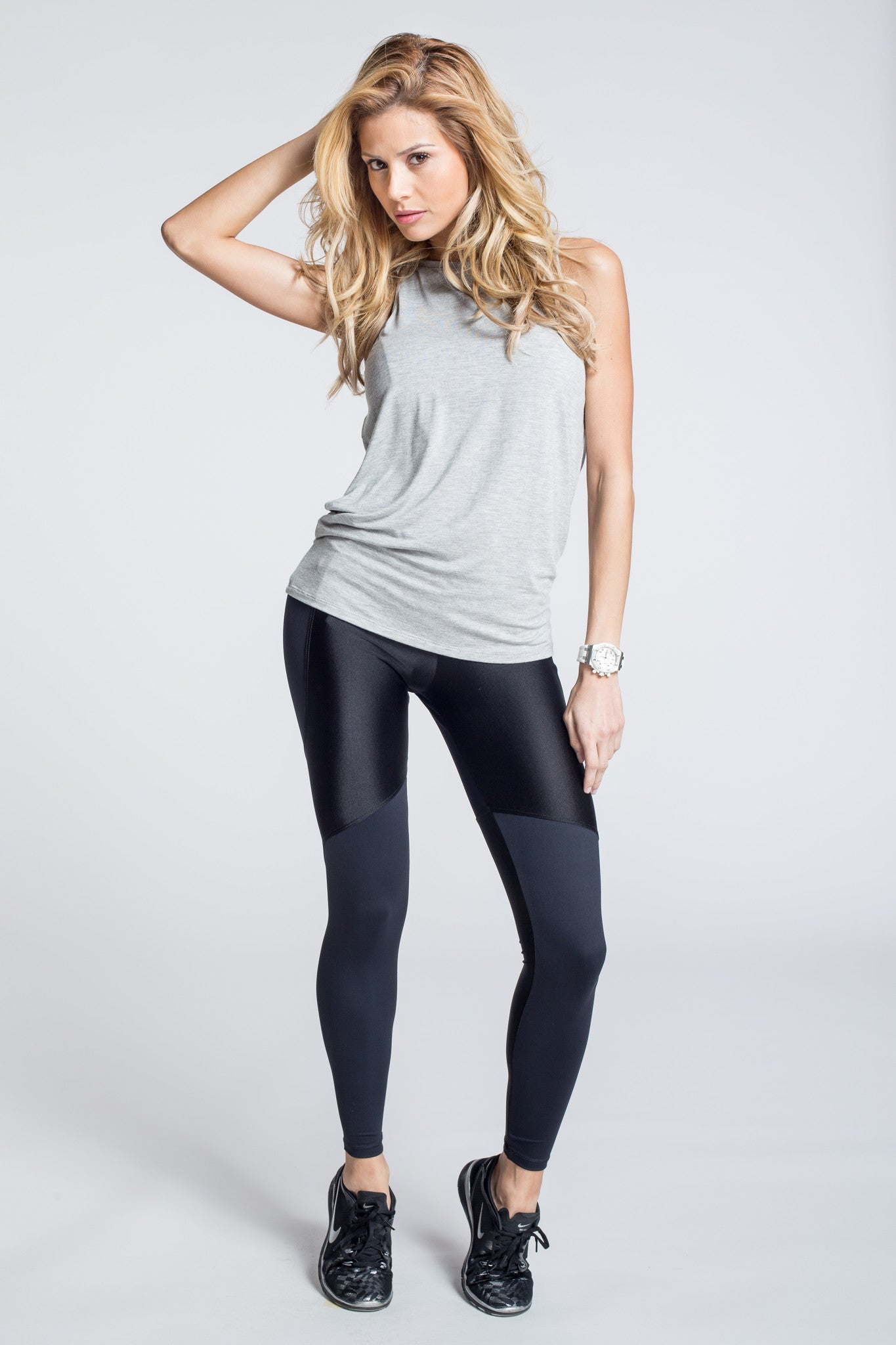 Driven Draped Back Top - Grey