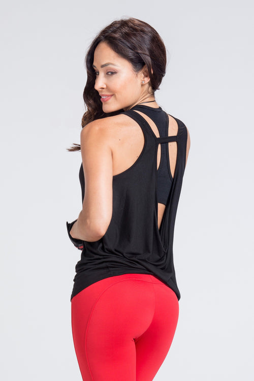Driven Draped Back Top - Black