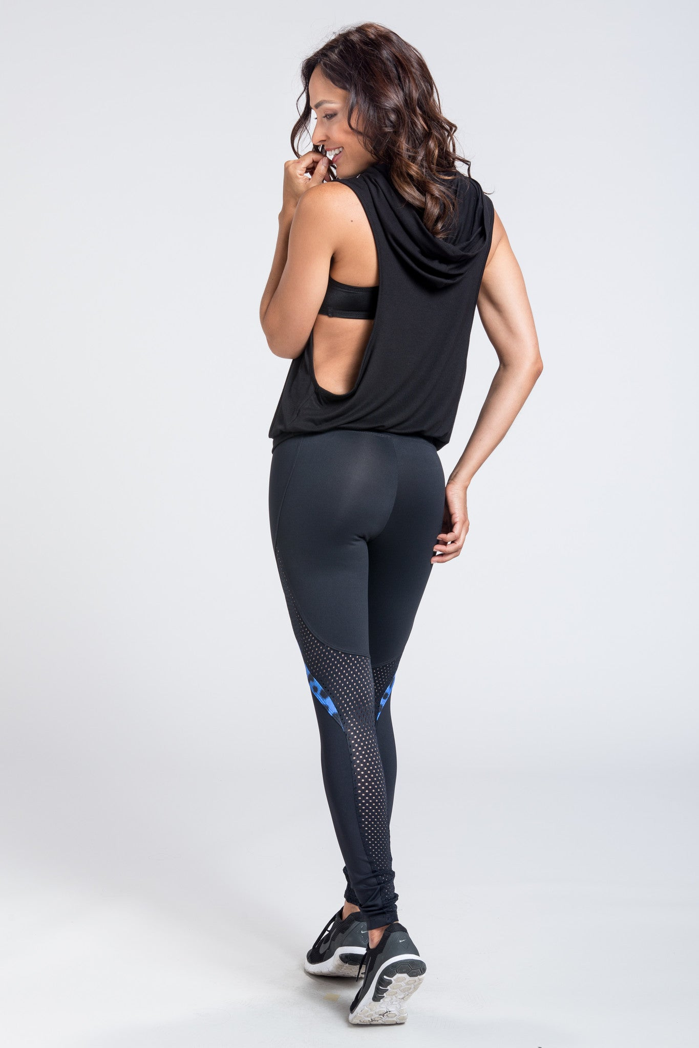 Marathon Mesh Legging - Black / Royal Leopard