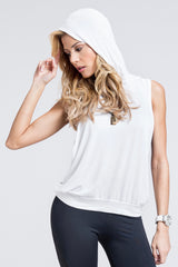 Circuit Cut Out Side Hoodie Top - White
