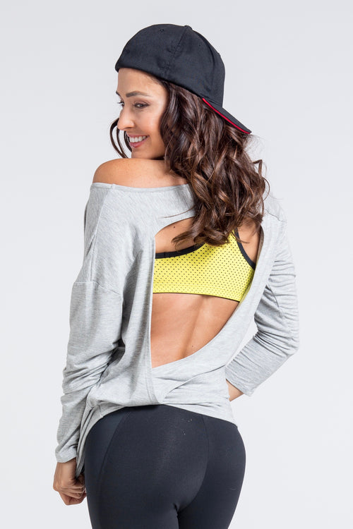 Burn It Cut Out Back Top - Grey