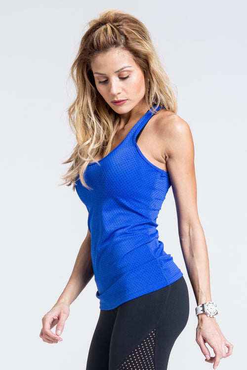 Motion Mesh Tank Top - Royal Blue