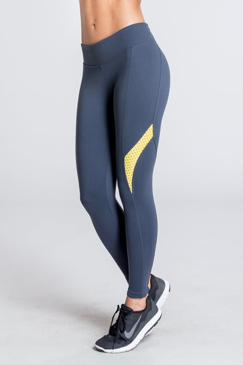Lush Leap Legging - Yellow / Grey