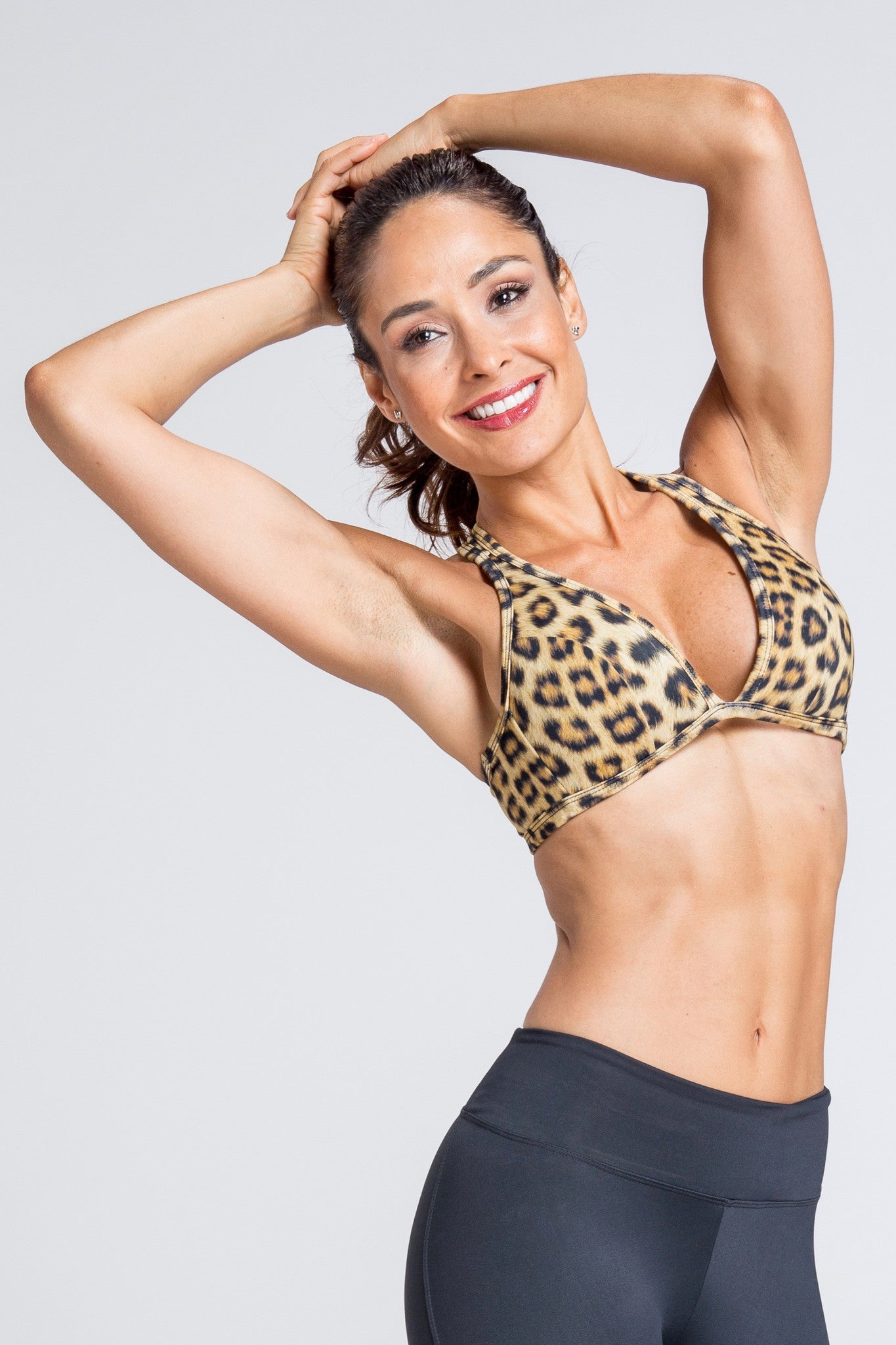 Lean Low Cut Bra - Golden Leopard