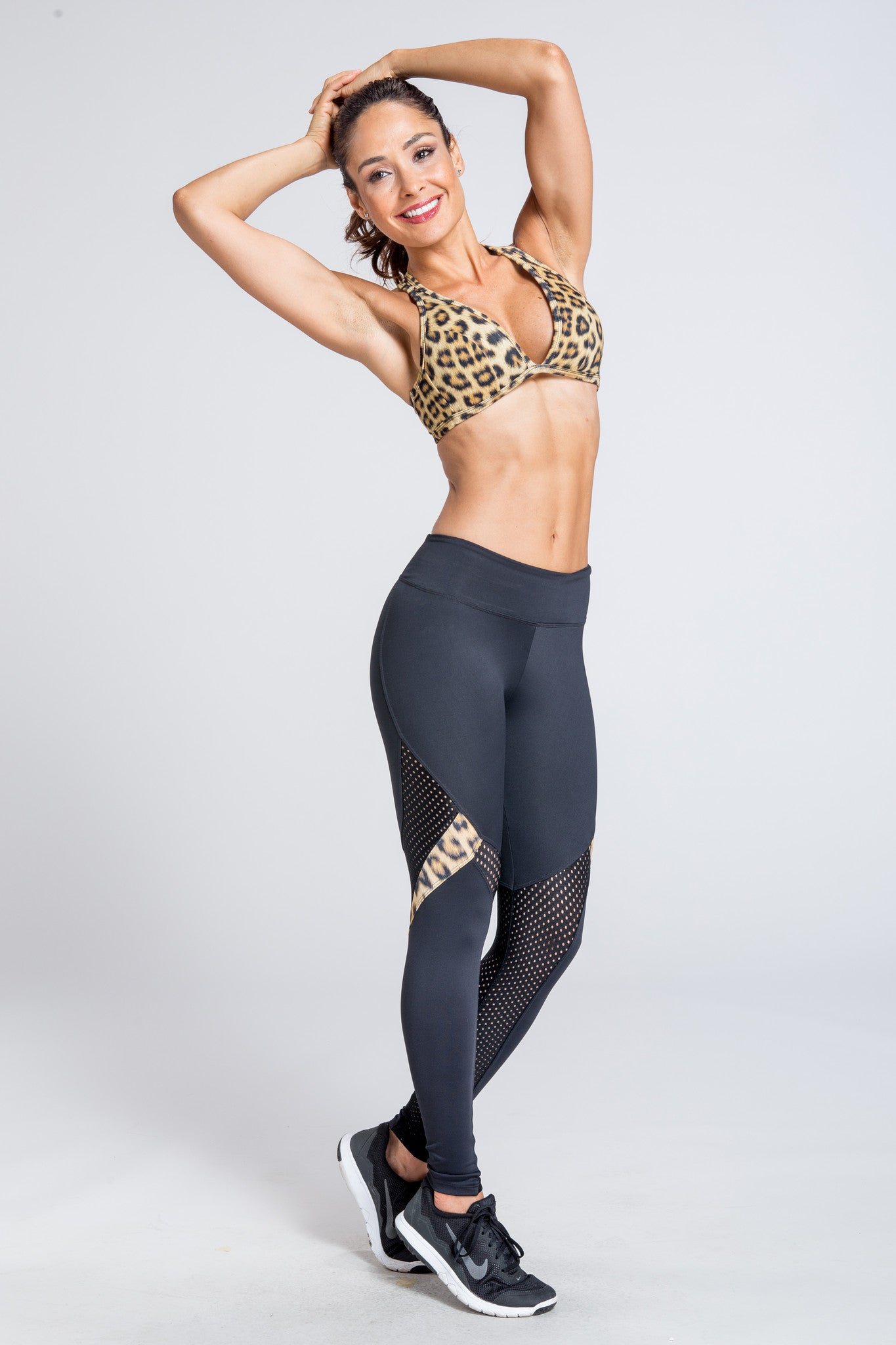 Marathon Mesh Legging - Black / Golden Leopard
