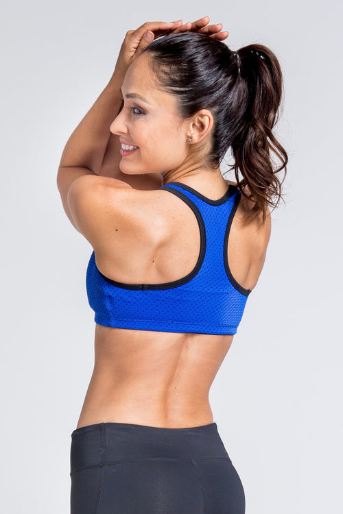 Motivation Mesh Sports Bra - Royal Blue
