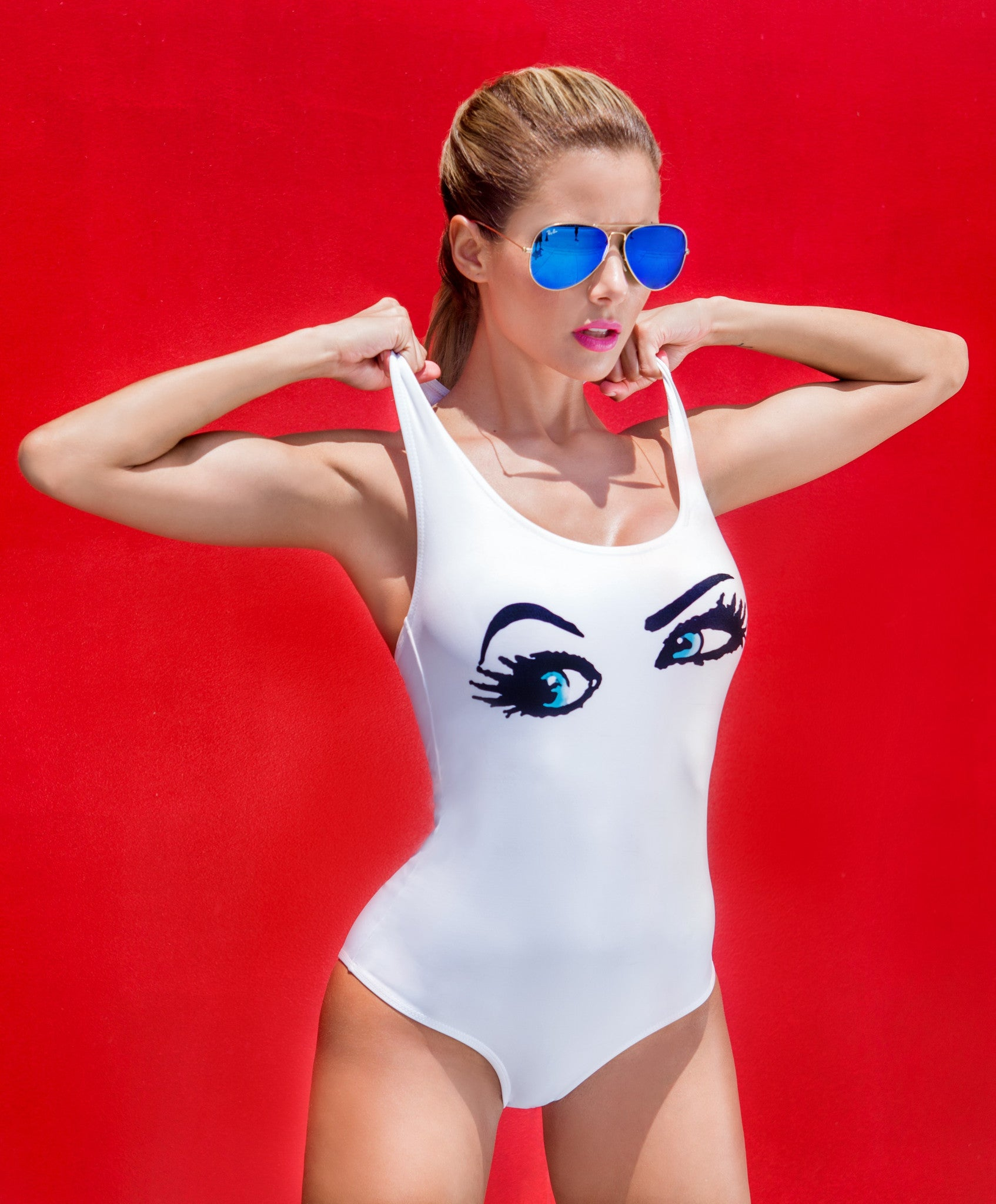 All Eyes On Me Bodysuit - White