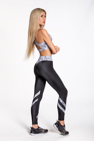 Jersey Stripe Leggings - White/Black