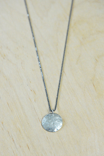 Silver Full Moon Charm Necklace