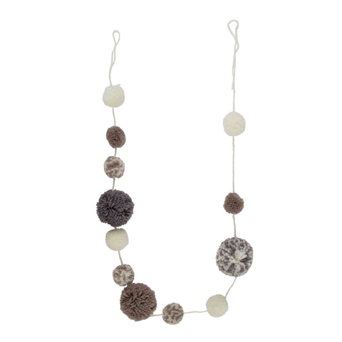 Grey Pom Pom Garland - Five Little Diamonds