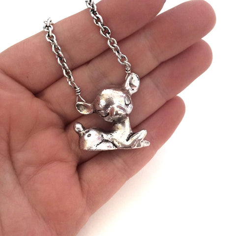 Retro Sitting Deer Silver Tone Pendant - Five Little Diamonds
