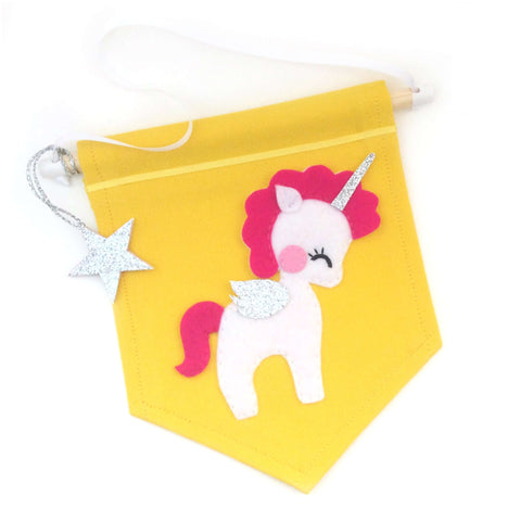 Unicorn Pennant Flag Banner - Five Little Diamonds
