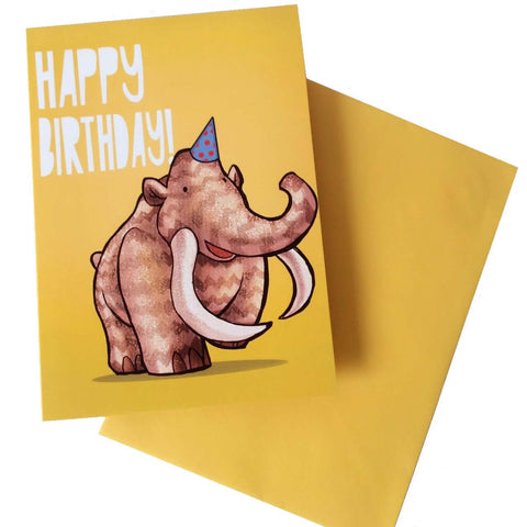 Happy Birthday Mammoth Card - Five Little Diamonds