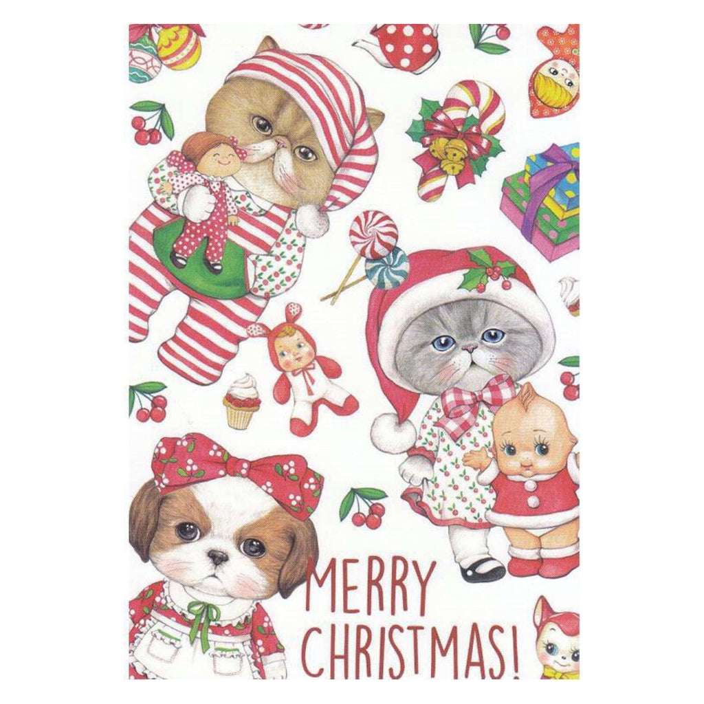 Rumi Cat Kitsch Christmas Postcard- WHITE - Five Little Diamonds