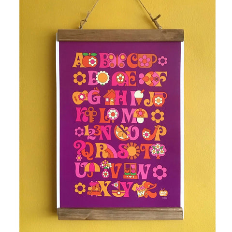 A3 Retro Alphabet Chart Poster - Five Little Diamonds