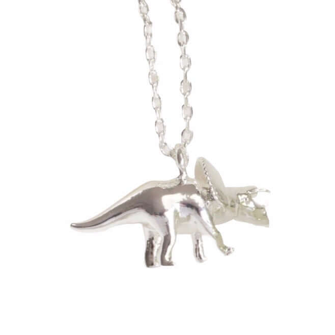 Silver Plated Triceratops Dinosaur Pendant Necklace