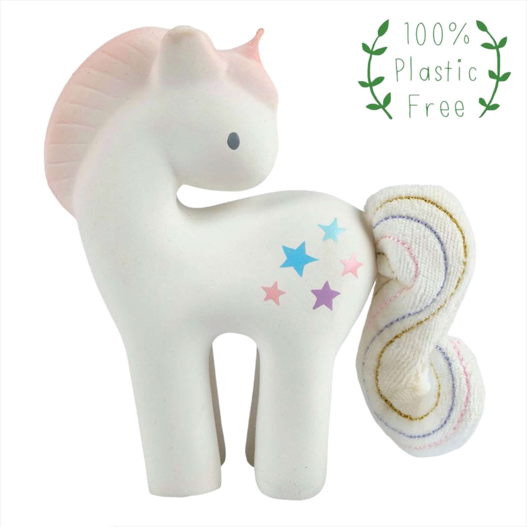 Natural Rubber Cotton Candy Unicorn with Crinkle Tail Teething Toy