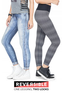 Reversible Washed City Denim Legging