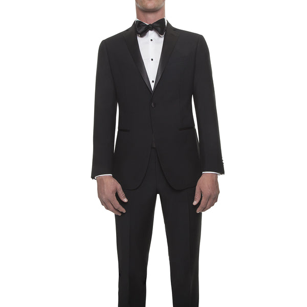 121013 - Jet Black Tuxedo with Notch Lapel in Super 130's Worsted Wool from Zignone
