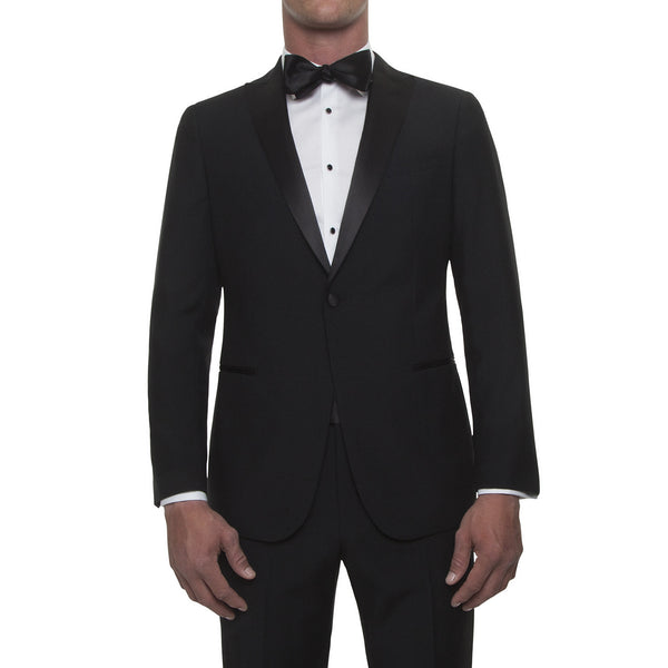 121013 - Jet Black Tuxedo with Peak Lapel in Super 130's Worsted Wool from Zignone