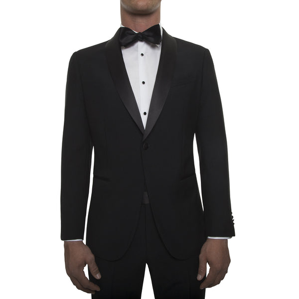 121013 - Jet Black Tuxedo with Shawl Lapel in Super 130's Worsted Wool from Zignone