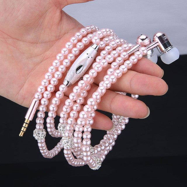 New Fashion Bling Diamond Pearl Necklace Chain Earphone Stereo Earphones With Mic For iphone Samsung SmartPhone PC Elegant Style
