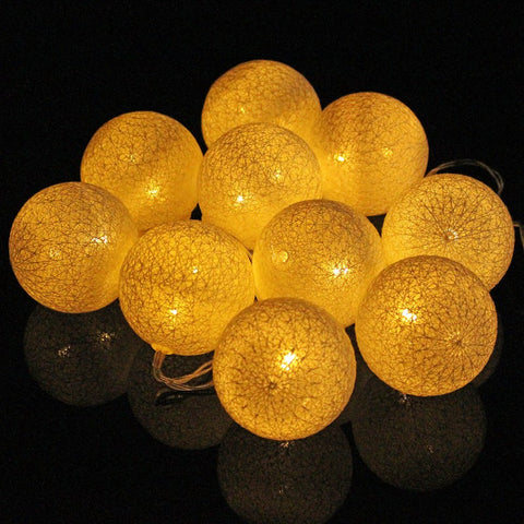 Mising Cotton Ball 10 LED String Light Christmas Battery Operated LED Fairy String Light Party Wedding Home