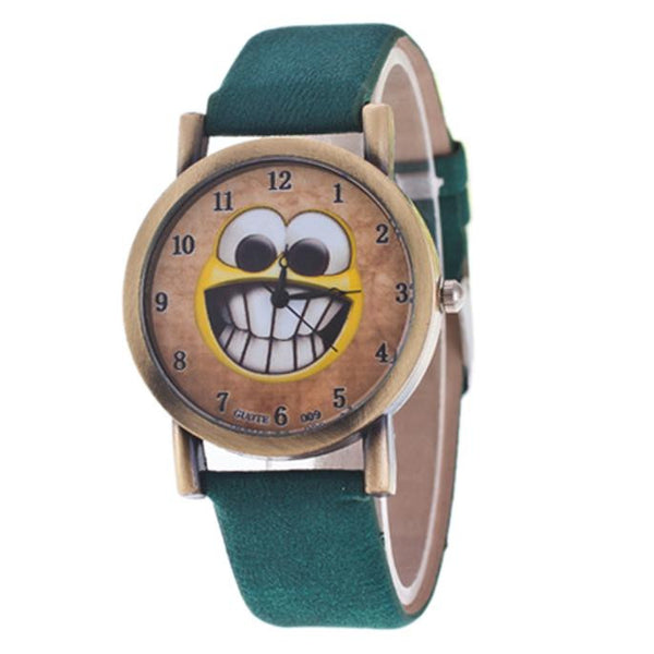 Expression Smile Pattern Leather Band Analog Quartz Vogue Watches