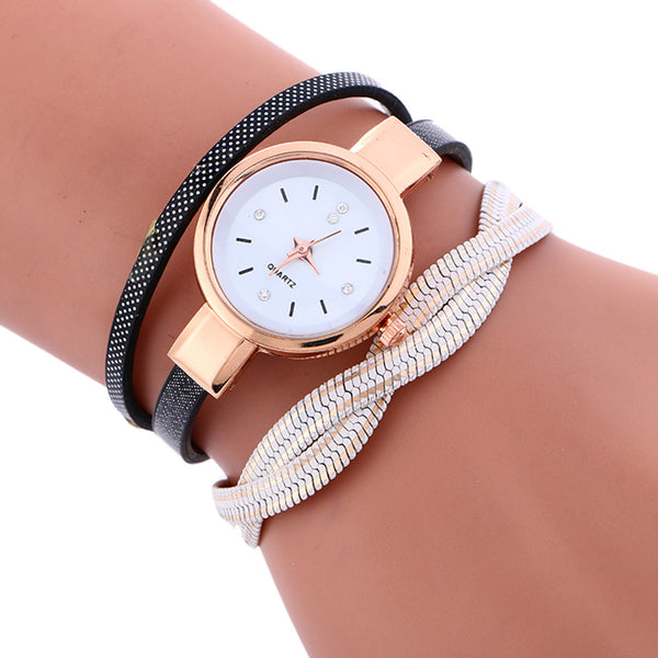 Wrap Weaving Around Fashion Bracelet Lady Womans Wrist Watch