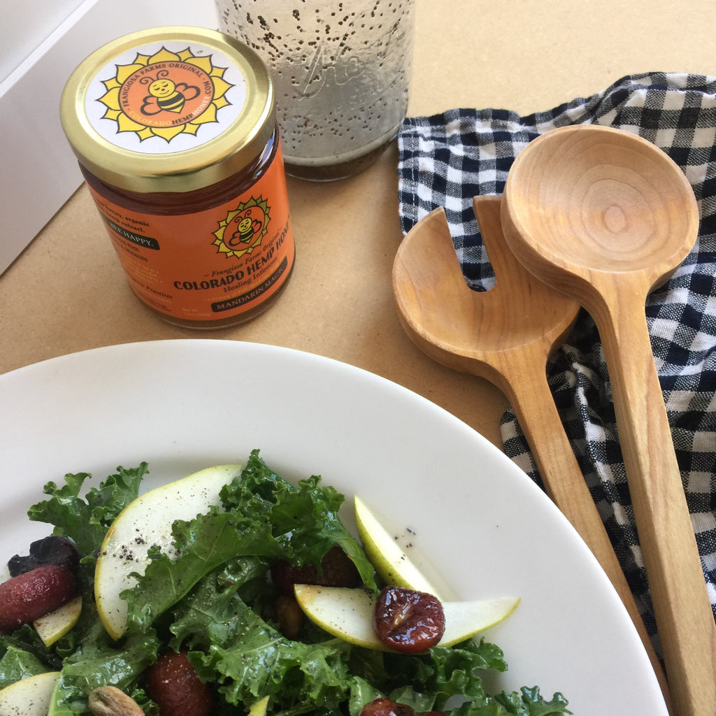 Kale Salad with Roasted Grapes and Honey-Poppy Seed Dressing
