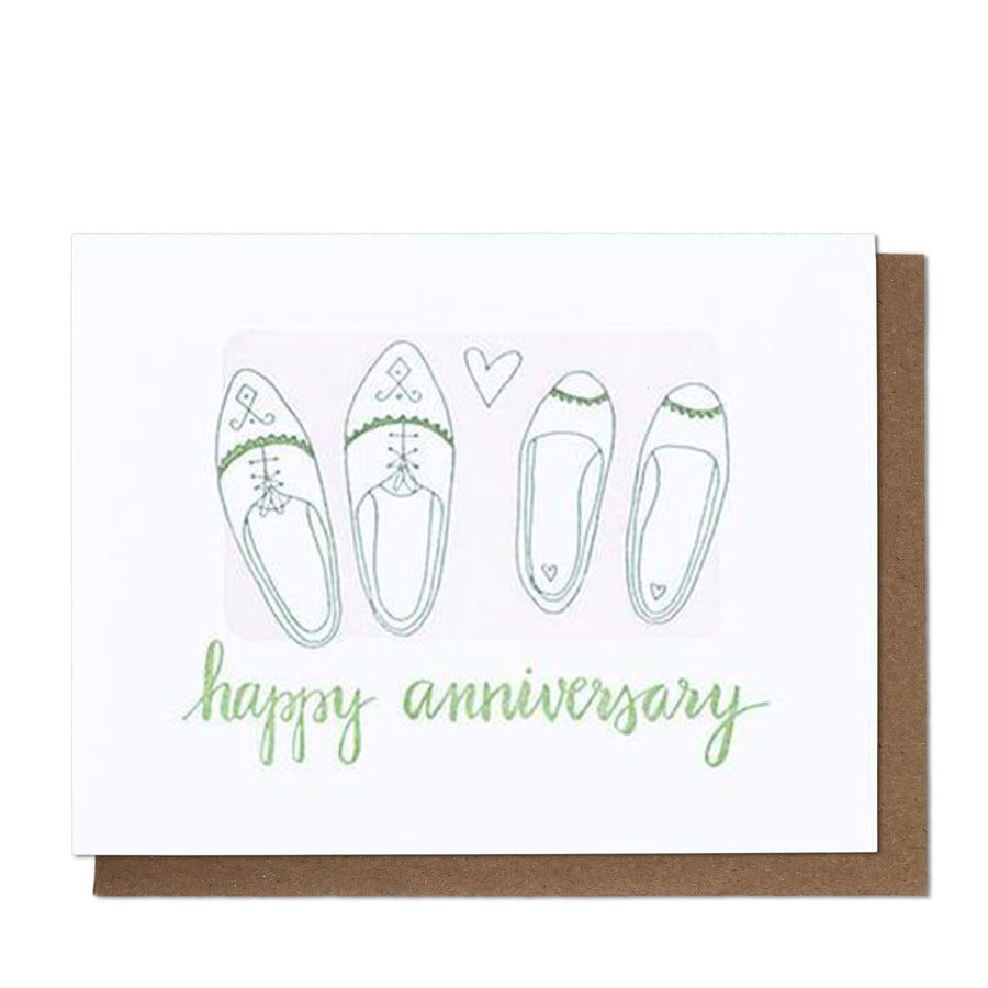 Happy Anniversary Shoes Letterpress Greeting Card