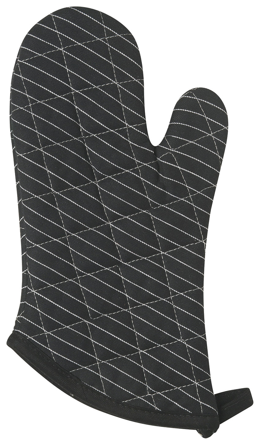 Pinstripe Superior Oven Mitt in Black