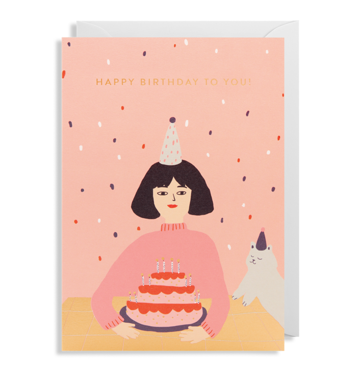Happy Birthday Girl and Cat Greeting Card