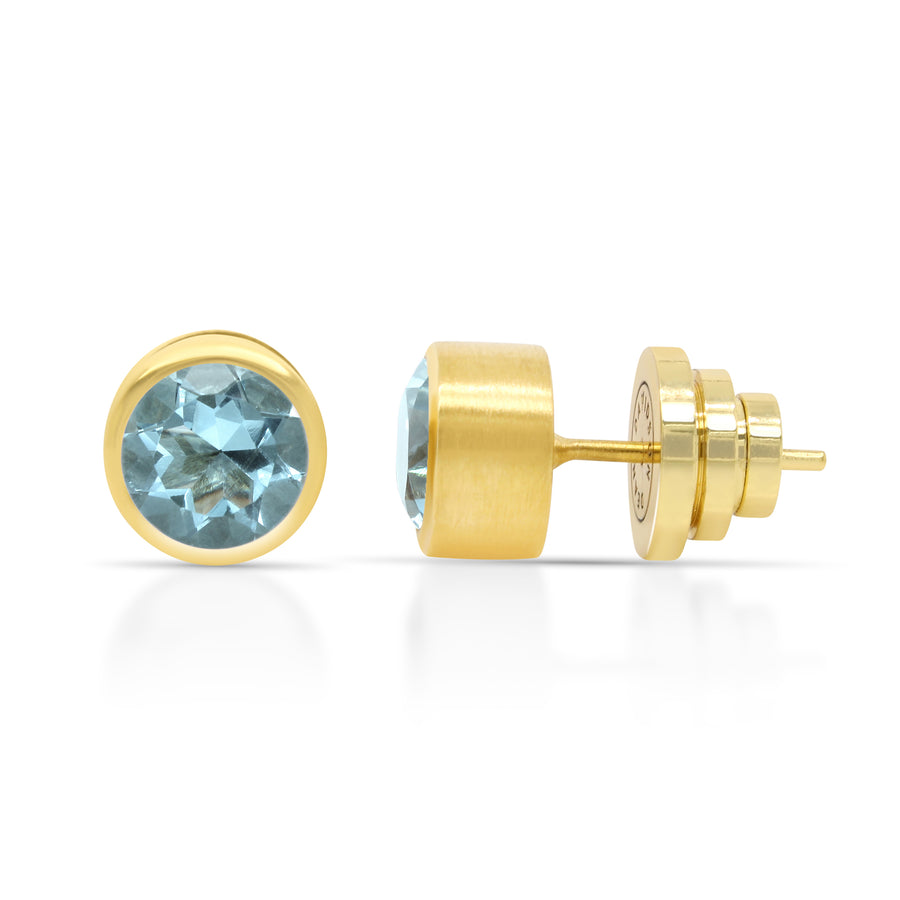 Dean Davidson - Signature Midi Knockout Studs in Gold and Blue Topaz
