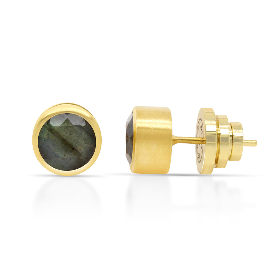 Dean Davidson - Signature Midi Knockout Studs in Gold and Labradorite