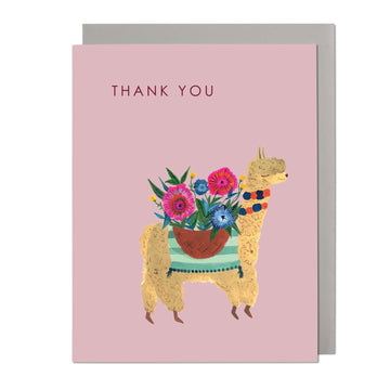 Alpaca with Flowers Greeting Card