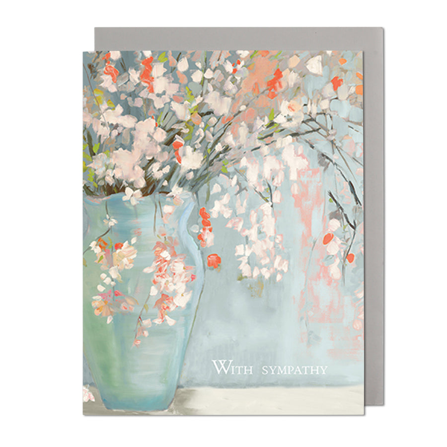 Salmon Flowers Sympathy Greeting Card