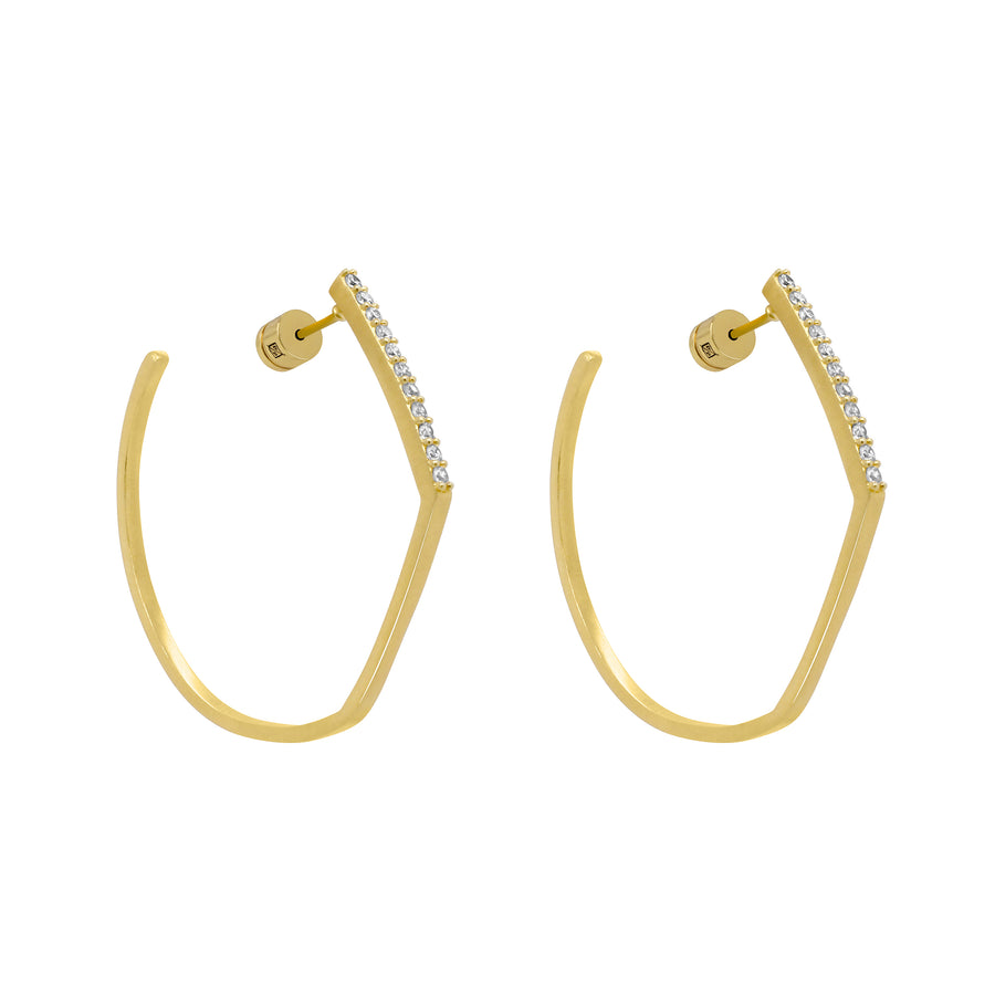 Dean Davidson - Midi Spire Hoops in Gold and Topaz