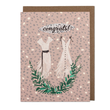 Congrats Two Wedding Dresses Greeting Card