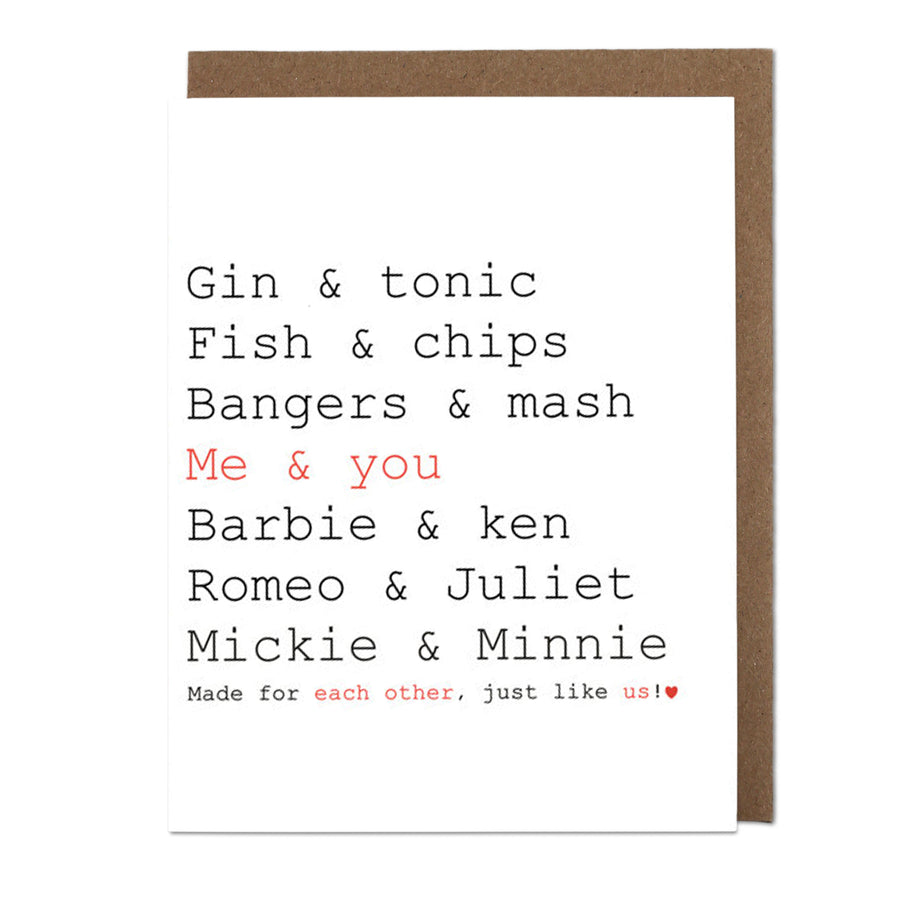 Gin & Tonic, Me & You Greeting Card