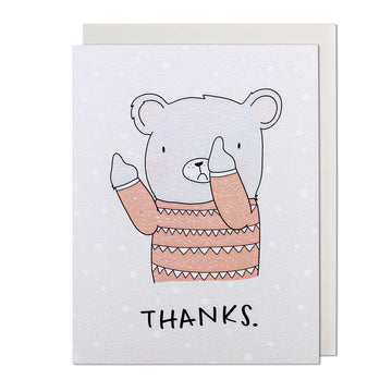 Flip The Bear Thanks Greeting Card