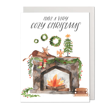 Cat and Fireplace Greeting Card