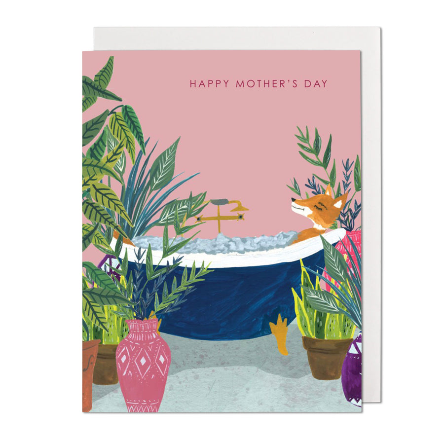 Fox In Bathtub Greeting Card