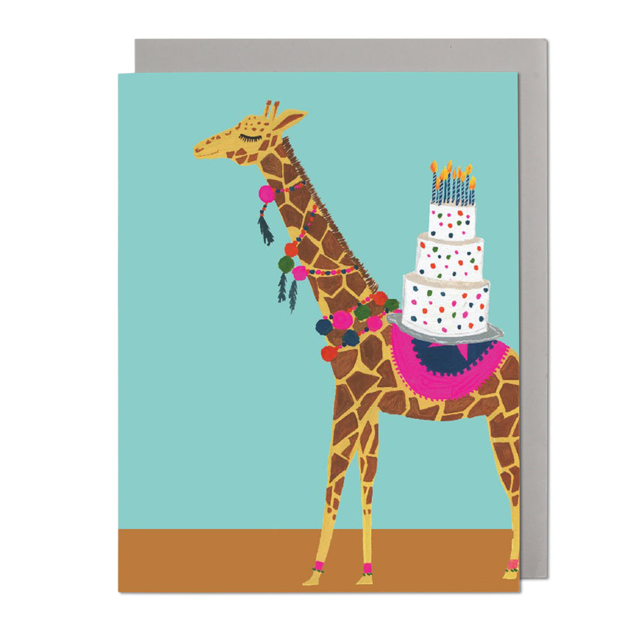 Giraffe with Birthday Cake Greeting Card