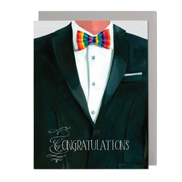 Rainbow Bow Tie Greeting Card