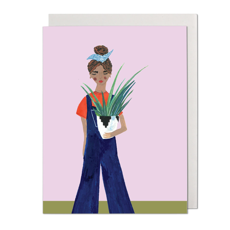 Woman With Plant Greeting Card