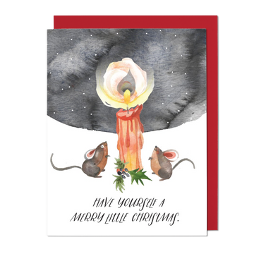 Merry Little Christmas Mice Greeting Card
